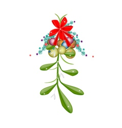 Hanging Green Mistletoe with A Red Bow vector