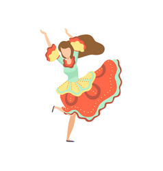 Happy girl in bright dress dancing at folklore vector