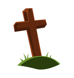 happy halloween grave cross vector image