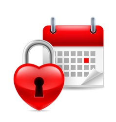 Heart lock and calendar vector