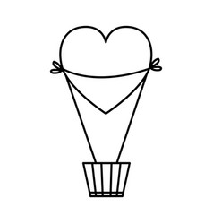Heart shaped balloon air hot vector