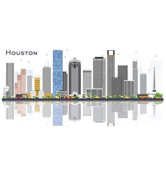 Houston usa city skyline with color buildings and vector