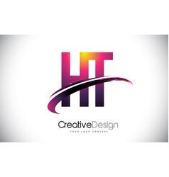 Ht h t purple letter logo with swoosh design vector