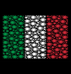 Italy flag pattern of bacteria icons vector