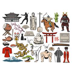 japanese fuji sushi asian temple geisha icons vector image