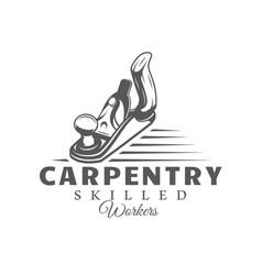 Jointer modern carpentry label vector