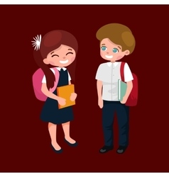 Little girl and boy with school backpack and books vector