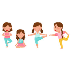 Little girl standing in yoga pose breathing deeply vector