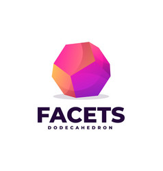 logo facets dodecahedron gradient colorful style vector image