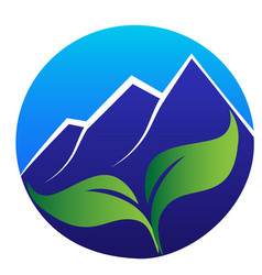 logo mountains leafs icon in a circle vector image