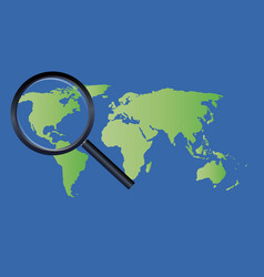 magnify glass on a world map vector image