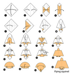Make origami a flying squirrel vector