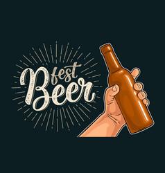Man hand holding open bottle beer fest vector