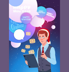 man with digital tablet send messages greeting vector image