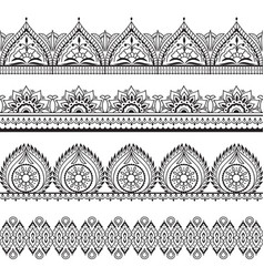mehndi seamless borders henna oriental patterns vector image