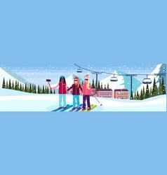 mix race women taking selfie ski resort hotel vector image