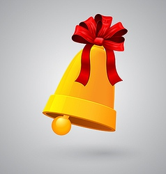 New Year and Christmas bell with red ribbon and vector image