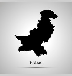 Pakistan country map simple black silhouette on vector