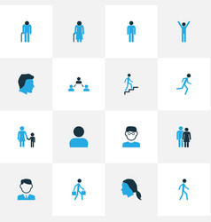 Person colorful icons set collection of old vector