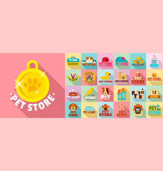 pet store logo set flat style vector image