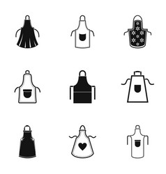 Pinafore icons set simple style vector