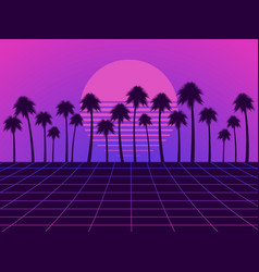Retro futuristic landscape with palm trees neon vector