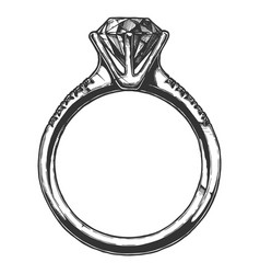 ring with a big diamond vector image