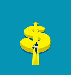 running for money currency and dollar sign concept vector image