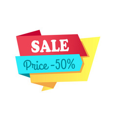 Sale price -50 off label with info about discount vector