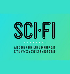 Science fiction style font alphabet letters and vector