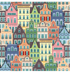 seamless pattern holland old houses facades vector image