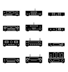 Set audio power amplifier silhouette icons vector