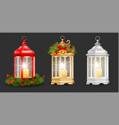 set christmas and new year lantern with candle vector image