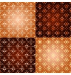 Set filigree damask seamless patterns vector image