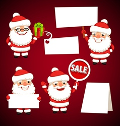 set of cartoon santa claus with white board vector image