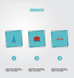 set of famous icons flat style symbols with eiffel vector image