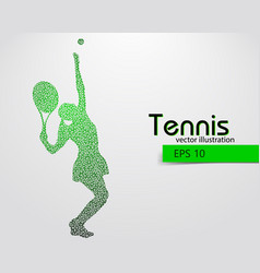 silhouette of a tennis player from triangles vector image