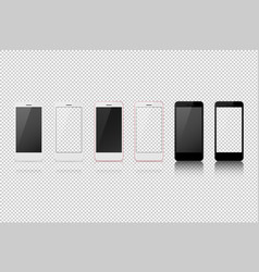 Smart phone with different color white blank and vector