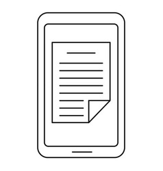 smartphone document icon outline style vector image