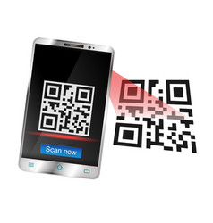 smartphone scans the qr code vector image