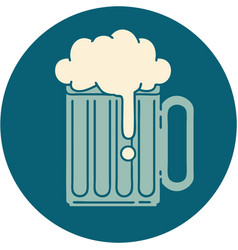 tattoo style icon a beer tankard vector image
