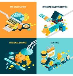 Tax concept icons set vector