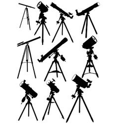 Telescope silhouettes vector