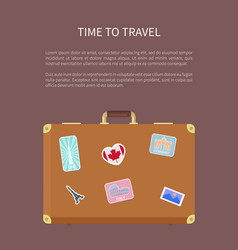 time to travel poster with text and luggage vector image
