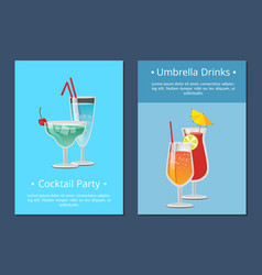 umbrella drinks cocktail party invitation poster vector image