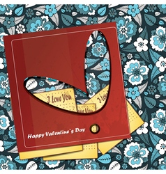 valentine day card with floral heart vector image vector image