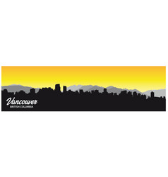 vancouver british columbia skyline silhouette vector image