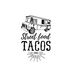Vintage mexican food truck logo tacos icon vector