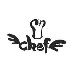 Virtuoso chef calligraphy sign vector
