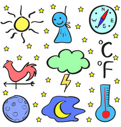 Weather doodles vector